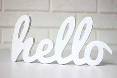 dodatki - dekoracje - napisy-Napis hello 3D samodzielnie stojący 32cm