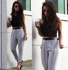 Here is Pant Outfit Pictures for you. Pant Outfit imagem de fashion outfit and girl fashion street style. Pant Outfit palazzo pants your Slacks Outfit, Trouser Outfits, Trousers Fashion, Grey Trousers, Grey Pants, Grey Slacks, Cropped Trousers, 6th Form Outfits, Uk Fashion