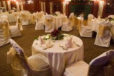 Indoor Wedding/Reception Venue - Library Room in The Lodge at The Stanley Hotel Indoor Wedding Receptions, Wedding Reception Venues, The Stanley Hotel, Library Room, My Perfect Wedding, Knot, Ties, Table Decorations, Home Decor