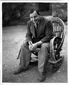 J.B. Priestley in a rocking chair, Wickenburg, Arizona, about 1936.