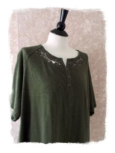 NEW Catherines Womens Plus Size 2X Tee Top Crochet Short Sleeve Green 22 24W NWT #Catherines #TeeTop #Casual