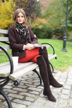 Olivia Palermo.  Love the way Olivia Palermo turned colored denim into a wearable fall look.