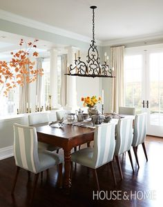 Striped Dining Chairs | Photo Gallery: Sarah Richardson Designs | House & Home | Photo by Angus Fergusson