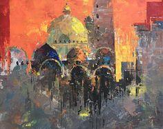 "St Mark's Basilica, Venice at dawn • original acrylic painting • 18x18"""
