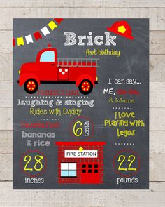 First Birthday Chalkboard--Firetruck Birthday Sign-- Firetruck-- Chalkboard Stats-- Custom Digital File-- Birthday SIgn-- Chalkboard Art