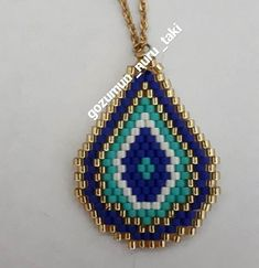 """kolye eye necklace, miyuki necklace, seed beads…Princess Necklage Tutorial Pendant – Prenses…St Petersburg Chain Bracelet – A """"How… Seed Bead Necklace, Seed Bead Jewelry, Beaded Earrings, Pendant Earrings, Handmade Beads, Handmade Jewelry, Bead Loom Bracelets, Beaded Jewelry Patterns, Jewelry Crafts"""