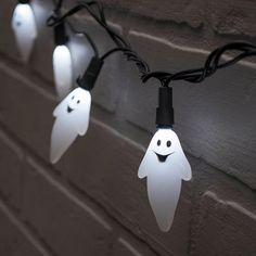 Create a spook-tacular display with our 8 foot black wired ghost LED lights. Each of the 20 three dimensional ghost glows with eerie white LED lights that are integrated into the ghosts.
