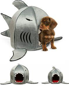 Em meio da tendência em PET Design, conseguimos encontrar cada vez mais objetos direcionados para os nossos bichinhos. Nesse aqui vemos uma divertida casinha para seu pet no formato de um tubarão. Só esperamos que eles não fiquem assustados em entrarem na boca de um tubarão!