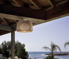 FORA by Alex Fernández Camps & Gonzalo Milà - Contemporary ceiling light / round / polyethylene / synthetic rattan by BOVER Barcelona Outdoor Ceiling Lights, Outdoor Wall Lamps, Outdoor Walls, Outdoor Lighting, Landscape Lighting, Outdoor Spaces, Flush Mount Ceiling, Modern Landscaping, Interior Exterior
