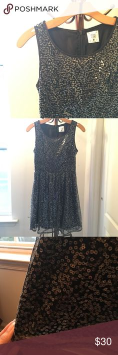 Sleeveless Sequin Cocktail Dress Black sleeveless a-line dress with clear sequin embroidery outer layer for a vintage feel. Perfect for graduation or cocktail parties. By boutique brand Mac + Jac, listed as Lulu's for exposure. Lulu's Dresses