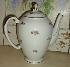 VINTAGE LIMOGES COFFEE TEA POT ~ White with Pink & Yellow Flowers