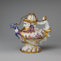 Teapot with Cover  -  Factory: Meissen Manufactory  -  Decorator:Decorated by the Hausmaler Sabina Aufenwerth, Augsburg - Date: ca. 1719–30  Culture: German - collection of Metropolitan Museum of Art