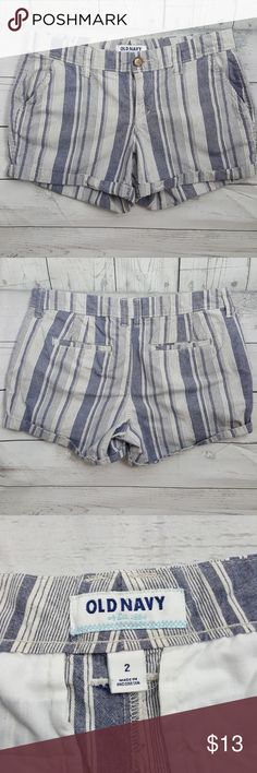 Old Navy shorts Old Navy cuffed shorts, flat front, striped,100% cotton Old Navy Shorts Skorts