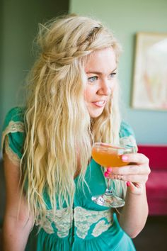 I lvoe everything about this picture...hair...dress..nails..drink..smile...background...wonderful!