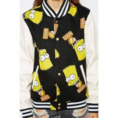 Simpson B. Baseball Jacket ($58) ❤ liked on Polyvore featuring outerwear and jackets