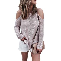 Fashion Off Shoulder Solid Color Knit Top Sweater Pullover Knitwear