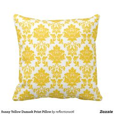 Sunny Yellow Damask Print Pillow