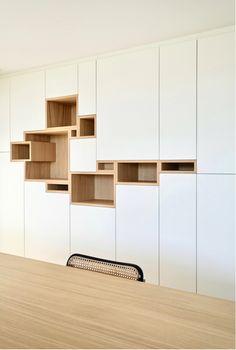 Open Plan Kitchen Living Room, Ikea Living Room, Living Room Storage, Home Office Design, Home Interior Design, Interior Architecture, Cool Bookshelves, Built In Bookcase, Mod Furniture