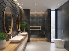 The Latest Bathroom Tech Innovations You Won& Want to Live Without Dark Bathrooms, Dream Bathrooms, Hotel Bathrooms, Bathroom Black, Luxury Hotel Bathroom, Ensuite Bathrooms, Luxury Bathrooms, Contemporary Bathrooms, Spa Inspired Bathroom