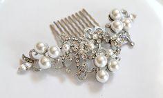 Bridal Swarovski Crystal Pearl  Hair comb.  Vintage style jewel Rhinestone Wedding Head piece.  Pearl Scroll $56