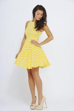 not a bikini, but it's yellow-poka dots