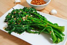 Braised Rapini (Broccoli Rabe) Recipe with rapini, olive oil, garlic, red pepper flakes, salt