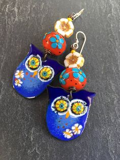 Enamel Owl Earrings Limited Edition Blue Hare Art Wear