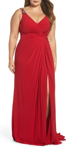 Plus Size Embellished Shoulder Jersey Gown