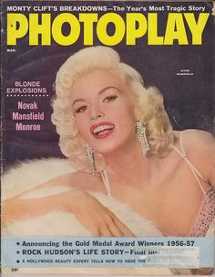 Jayne Mansfield on the cover of Photoplay magazine, March 1957, USA.