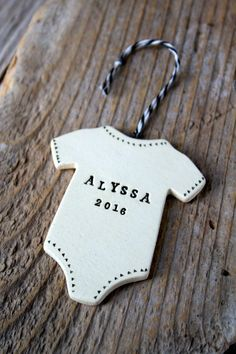 Personalized Baby Onesie Pottery Ornament – weeks for delivery – Free Domestic Shipping for Ornaments – Hobbies paining body for kids and adult Polymer Clay Ornaments, Polymer Clay Crafts, Diy Clay, Pottery Gifts, Pottery Clay, Slab Pottery, Pottery Studio, Pottery Vase, Clay Magnets