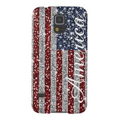Cool trendy America flag shining faux glitter Galaxy S5 Cover