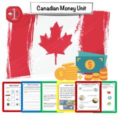 Canadian Money Unit - 56 page unit pack- Canadian Money - Readings- Coins identification- Coins worksheets- Money word problems 2 Sets of Boom Task Cards (41 task cards) Canadian Money - Boom Task Cards Set (28 Cards) - Perfect for identifying coins and their worth- #financialliteracy #math #ontario #canada