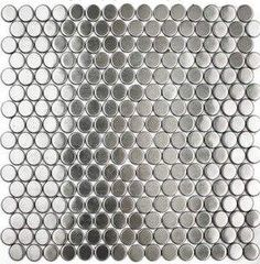 stainless steel mosaic tile ...thinkin' for around the toilet base