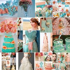 Peach and Aqua inspiration board by Absolute Soiree. I love this color combination!