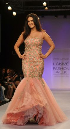 Sunny Leone showcases a creation by designer Jyotsna Tiwari on Day 6 of the Lakme Fashion Week 2014