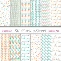 Peach Mint Confetti Arrow Chevron Digital Paper mint green hand drawn orange pattern wedding photography scrapbook background diy invitation by StarFlowerStreetDA