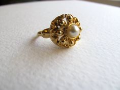Midcentury modern pearly cocktail ring gold by MySoCalledVintage, $18.00