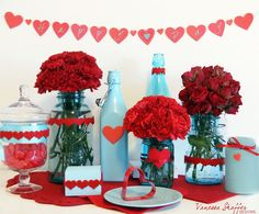 Bridal Shower or Valentines Theme. Light-blue-and-red-hearts theme!