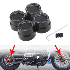 Black CNC Aluminum RC Front+Rear Axle Cover Cap Nut Bolt Kit For Harley Sportster XL 883 1200 Dyna Touring V-Rod Softai Glide #Affiliate