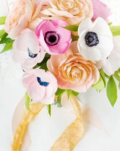 DIY Paper Flower Wedding Bouquet made with Crepe Paper Anemones and Garden Roses / Appetite Paper for Oh So Beautiful Paper