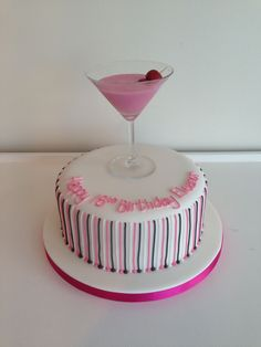 Cocktail themed birthday cake