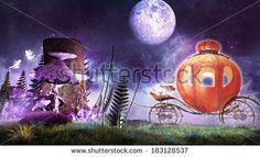 stock-photo-halloween-scene-with-a-pumpkin-carriage-and-glowing-mushrooms-183128537.jpg (450×273)