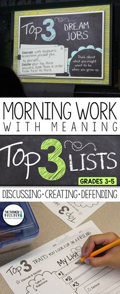 "Put some meaningful morning work into your daily routine with these ""Top 3 List"" activities! Get students discussing engaging topics, creating lists, defending their choices, and analyzing their own and others' decisions. 5th Grade Classroom, Classroom Community, School Classroom, Classroom Activities, Classroom Ideas, Future Classroom, Classroom Procedures, Language Activities, Classroom Organization"