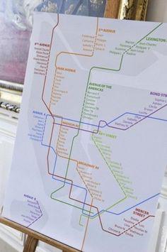 Un plan de métro pour le plan de table = mariage urbain ! A subway plan for the table seatting plan = urban wedding ! #b4wedding #mariage #wedding