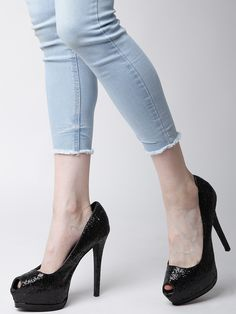 Buy Qupid Women Blackp Toed Shimmer 6 Inch Platforms Heels Online In India At Best Price A Pair Ofp Toed Black Platforms Synthetica Upper With
