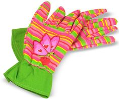 Protect young hands and make gardening extra-colorful with these kid size Bella Butterfly gloves. Sporting bright stripes and butterflies, these gloves will add instant beauty to you garden! Dimensions: x x Recommended Ages: 3 - 6 years Kids Gardening Gloves, Gardening Tools, Organic Gardening, Gardening Supplies, Best Garden Tools, Butterfly Kids, Home Vegetable Garden, Melissa & Doug, Work Gloves