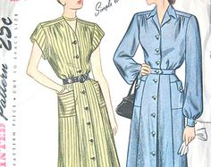 1940s Simplicity 1720 Dress Pattern Bust 37 inches