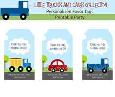 LITTLE CARS and TRUCKS Birthday party Favor Tags. Matches invite and other items in my shop on Etsy, $10.00