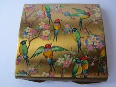 VINTAGE COMPACT WITH COLOURFUL BIRDS Lipstick Case, Lipstick Holder, Vanity Cases, Colourful Birds, Solid Perfume, Vintage Makeup, Compact Mirror, Cosmetic Case, Lipsticks