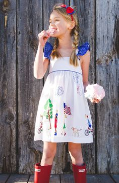 Follow the pursuit of happiness in our new favorite, all over woven, Serena Dress - a wonderful addition to any patriotic event!